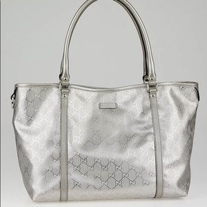 Gucci Metallic Silver Medium Tote Bag